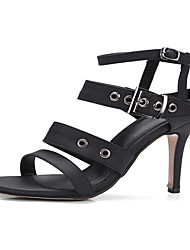 Women's Sandals Spring Summer Slingback Club Shoes Leatherette Party & Evening Dress Stiletto Heel Buckle Studded