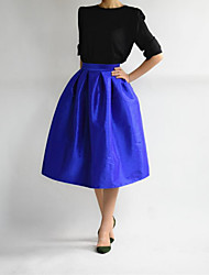 Women's High Rise Going out Midi Skirts A Line Solid All Seasons