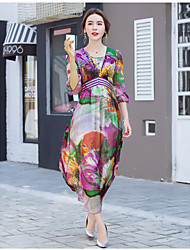 Sign whole summer for ladies silk silk V-neck dress Slim put on a large sleeve dress