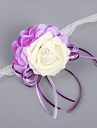 Wedding Flowers Free-form Roses Peonies Wrist Corsages Wedding Party/ Evening Purple Satin