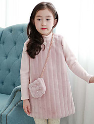 Girl's Solid Dress,Cotton Winter Long Sleeve