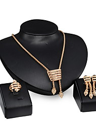 Women Wedding Bridal Gold Alloy Conch-shaped Necklace Earrings Ring Jewelry Set Sweater Chain