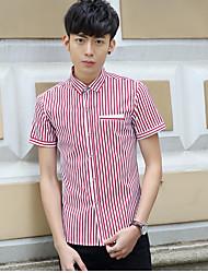 Men's Casual/Daily Simple Shirt,Striped Shirt Collar Short Sleeve Cotton