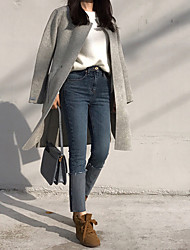 корейский шикарный футовый ролл джинсы тонкий был тонкий женский прилив