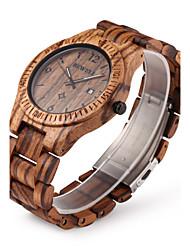 Men's Wrist watch Unique Creative Watch Wood Watch Calendar Quartz Japanese Quartz Wood Band Luxury Brown