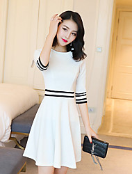 Sign 2017 spring new fifth sleeve white striped dress Slim