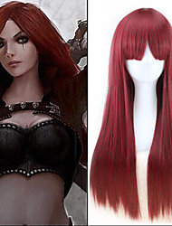30 Inches Wine Red Long Straight Game LOL League Of Legends Katarina Cosplay Harajuku Womens Wig Fashion Party Plucas