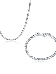 wholesale Silver Plated Jewelry925 Fashion Silver Jewelry chain Necklace&bracelet Jewelry Sets for Women/Men