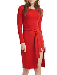 Women's Party Club Sexy Sheath Dress,Solid Round Neck Knee-length Above Knee Long Sleeve Polyester All Seasons Low Rise