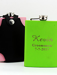 Personalized Stainless Steel 8-oz Color Flask with Holster  Hip Flasks