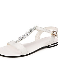 Women's Sandals Summer Fall Slingback Cowhide Party & Evening Dress Flat Heel Flower