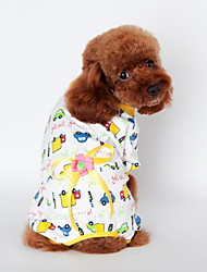 Cat Dog Shirt / T-Shirt Pajamas Yellow Blue Pink Dog Clothes Summer Spring/Fall Cartoon Cute Casual/Daily