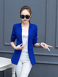 Women's Casual/Daily Simple Spring Fall Suit,Solid Shirt Collar Long Sleeve Regular Polyester