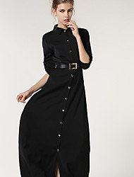 Women's Party Swing Dress,Solid Shirt Collar Maxi Long Sleeve Linen Spring High Rise Inelastic Thin