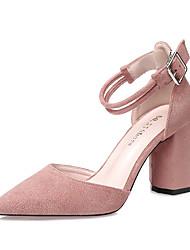 Women's Sandals Spring Summer Comfort Suede Dress Chunky Heel Buckle