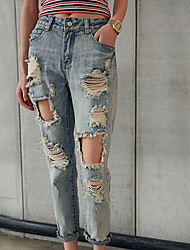 Women's Mid Rise Inelastic Jeans Pants,Vintage Loose Ripped Solid