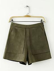 Femme simple Taille Haute non élastique Short Pantalon,Ample Couleur Pleine