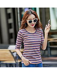 Damen Gestreift Einfach Ausgehen T-shirt,Rundhalsausschnitt ½ Länge Ärmel Baumwolle
