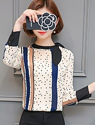 Women's Casual/Daily Formal Work Simple Street chic Blouse,Polka Dot Stand Long Sleeve Polyester