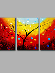 Hand-Painted Abstract Rich Tree Modern Three Panels Canvas Oil Painting For Home Decoration