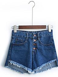 Damen Einfach Hohe Hüfthöhe Micro-elastisch Jeans Kurze Hosen Schlank Hose einfarbig