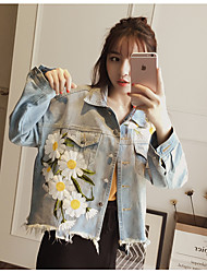Women's Casual/Daily Cute Spring Summer Denim Jacket,Solid Floral Shirt Collar ½ Length Sleeve Short Cotton