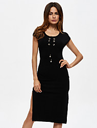 Women's Going out Casual/Daily Sexy Simple Bodycon Dress,Solid Round Neck Above Knee Sleeveless Cotton Spring Summer Low Rise
