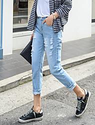 2017 printemps et pantalon été décontracté trou mendiant jeans neuf points
