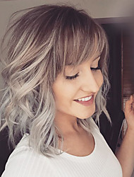 Fashion Lob Natural Wave Blonde Capless Cap Human Hair Wig With Side Bangs For Women 2017