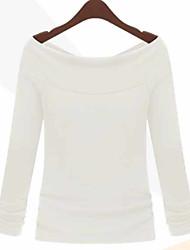 European style new women sexy collar shirt around two wear strapless long-sleeved T-shirt