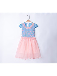 Girl's Going out Casual/Daily School Plaid Jacquard Dress,Cotton Summer Sleeveless