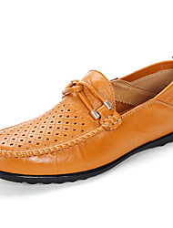 Men's Loafers & Slip-Ons Spring Fall Moccasin Comfort Cowhide Outdoor Office & Career Casual Flat Heel Ribbon Tie Walking