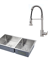 Contemporary Art Deco/Retro Pull-out/Pull-down Vessel Widespread Pullout Spray with  Ceramic Valve Nickel Brashued Kicthen Faucet With Sink
