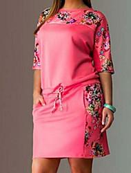 2016 été nouveau col rond imprimé à manches courtes femmes de grande taille&# 39; s robe en gras mm