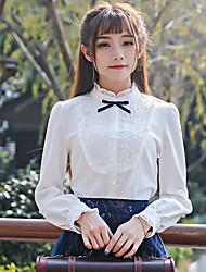 Laugh Spring 2017 new women retro sweet long-sleeved white shirt collar shirt bow Slim Bottom