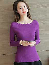 Modell echter Schuss Frühjahr neuer Wellenrand feste Farbe war dünn Kragen Pullover Sicherungs Shirt weiblich