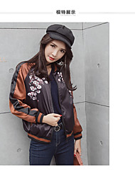 Women's Casual/Daily Boho Fall Winter Jacket,Print V Neck Long Sleeve Regular Cotton Polyester Jacquard