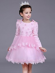Ball Gown Short / Mini Flower Girl Dress - Cotton Lace Satin Tulle Jewel with Beading Bow(s) Flower(s) Pearl Detailing Ruffles
