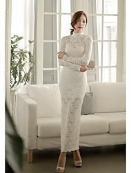Moulante Dentelle Robe Femme Sortie Soirée / CocktailCouleur Pleine Broderie Mao Maxi Manches Longues Polyester Printemps Taille Haute