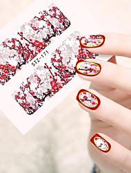 10pcs/set New Fashion Nail Art Sticker Beautiful Blossom Plum Flower Nail Water Transfer Decals Nail Beauty Design STZ-171