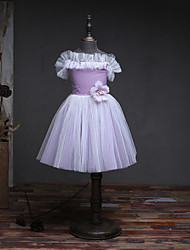 A-line Knee-length Flower Girl Dress - Tulle Satin Chiffon Bateau with Beading Flower(s)
