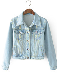Women's Going out Casual/Daily Simple Fall Denim Jacket,Solid Stand Long Sleeve Short Cotton
