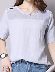 знак 2016 лето новый хлопка с коротким рукавом блузку полые сплошной цвет вокруг шеи футболку большого размера небольшой рубашки