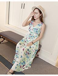 Real tiro verão novo temperamento senhora borboletas v-pescoço slim colocar em um grande vestido de vestido de praia vestido de chiffon