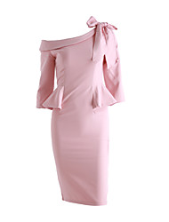 novas mulheres Coreano OL magro temperamento pacote de hip babados arco laço saia do vestido vestido