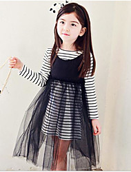 Girl's Going out Holiday Solid Dress,Cotton Fall Long Sleeve