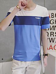 Été nouvelle coupe à trois couleurs ronde cou manches courtes t-shirt supermarché