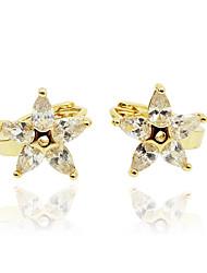 Mulheres Para Meninas Brinco Imitação de Diamante Original Moda Personalizado Hipoalergênico Euramerican Zircão Rosa Folheado a Ouro