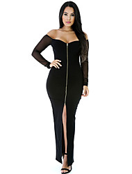 Women's Zipped and Slit Front Long Mesh Sleeve Off-shoulder Dress