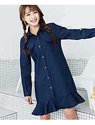 Sign new Korean version of Slim solid color denim dress ladies wild temperament was thin a word short skirt